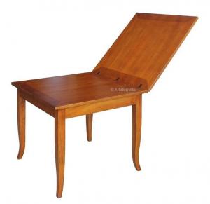 Mesa cuadrada estilo clásico apertura libro 80-160 cm