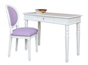 Mesa de despacho en madera y silla tejido piel artificial
