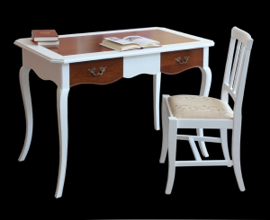 Mesa de despacho bicolor blanco y cerezo en madera maciza
