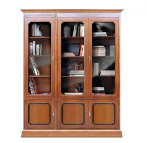 Vitrina librería con puertas en vidrio y cajones en madera