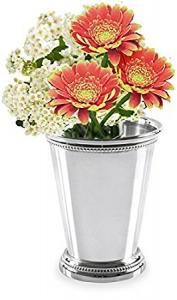 Bicchiere vaso fiori portapenne argentato argento sheffield stile perlinato cm.6,9h diam.6,6
