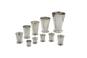 Bicchiere vaso fiori portapenne argentato argento sheffield stile perlinato cm.6,2h diam.6