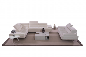 DEA - Divano angolare in tessuto microfibra antigraffio bianco, dotato di poggiatesta relax regolabili e piedi in metallo cromo- design moderno