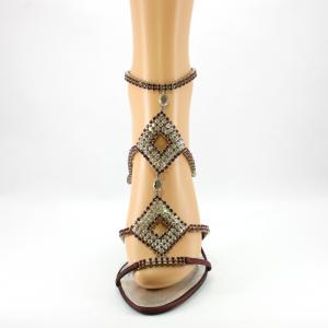 Sandalo gioiello donna elegante con cristalli svarovsky in rosso amaranto e argento.