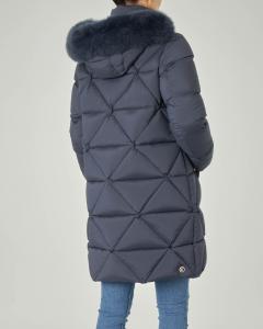 Piumino blu lunghezza media con disegno romboidale e cappuccio staccabile