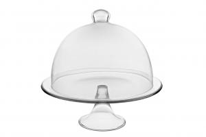 Alzata per dolci e frutta in vetro con campana in vetro cm.30,5h diam.32