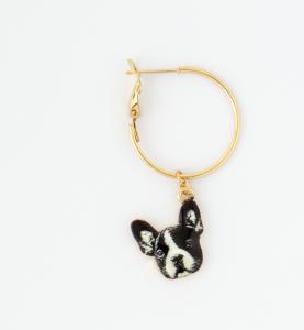 Orecchini a cerchio in ottone galvanizzato con cuore e cane bulldog francese pendenti