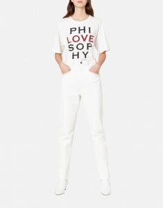 T-shirt bianca con logo in paillettes PHILOSOPHY