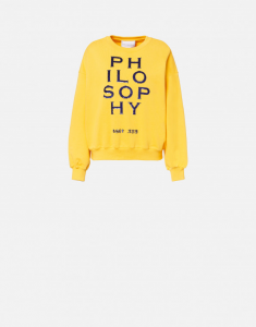 Felpa gialla con logo in paillettes PHILOSOPHY