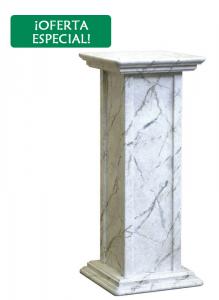 Pedestal de madera acabado mármol