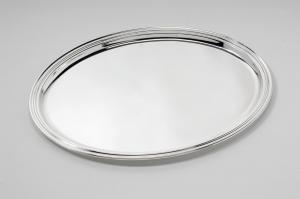 Vassoio ovale placcato argento cm.38,5x27,5