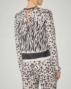Blusa girocollo a maniche lunghe a fantasia animalier in tessuto effetto twill di seta