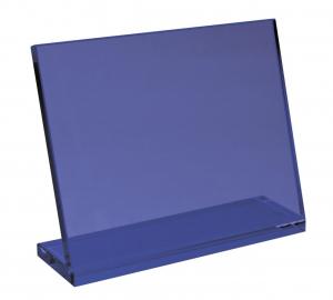 Vetro blu con base cm.19x16x6h