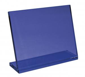 Vetro blu con base cm.24x19x6h