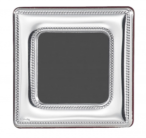 Cornice portafoto quadrata piccola in argento 6x6 stile Perles cm.6x6
