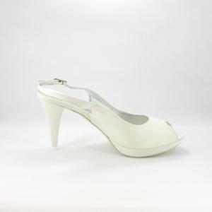 Sandalo cerimonia donna e sposa elegante in tessuto avorio con cinghietta regolabile.