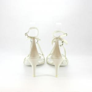 Sandalo donna elegante da sposa e cerimonia con cinghetta regolabile e applicazione cristalli.