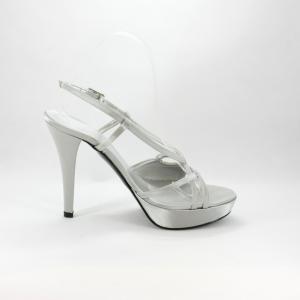 Sandalo cerimonia donna in tessuto di raso color grigio perla con cinghietta regolabile alla caviglia.