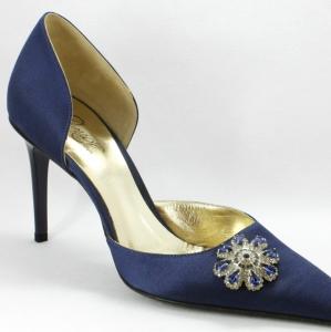 Scarpa elegante da cerimonia in tessuto di raso con applicazione cristalli Svarovsky argento e blu.