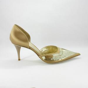 Scarpa cerimonia donna elegante in tessuto di raso oro con applicazioni di pailette.