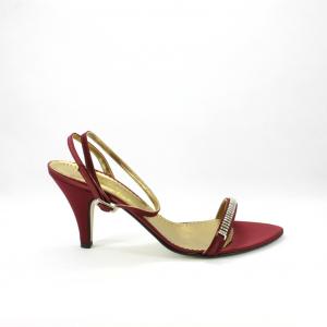 Sandalo cerimonia donna elegante in tessuto di raso bordeaux con applicazione cristallo Svarovsky.