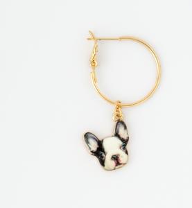 Orecchini a cerchio in ottone galvanizzato con ciondolo cane bulldog francese , piastra e fulmine pendenti