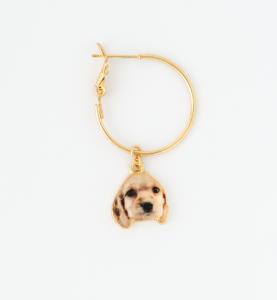 Orecchini a cerchio in ottone galvanizzato con ciondolo cane labrador , piastra pendenti