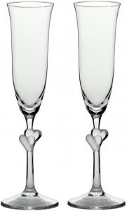Set di 2 calici da Champagne L'Amour, con Cuore Satinato, 175 ml cm.27h diam.7