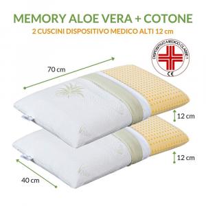 Cuscini Letto Coppia 40x70 alti 12 cm, Doppia Fodera ALOE VERA + Cotone Naturale Sfoderabili Antiacaro, Guanciali 100% MEMORY FOAM Ortopedici per dolori Cervicali con DISPOSITIVO MEDICO