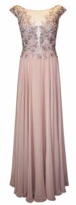 Abito cerimonia donna lungo in voile color rosa cipria.