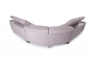 CURVI - Divano angolare 7 posti con angolo curvo in tessuto microfibra dotato di poggiatesta regolabili in altezza - piedi in metallo cromo