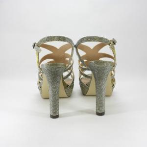 Sandalo cerimonia donna elegante in tessuto bronzo glitter con applicazioni cristalli e cinghietta regolabile.