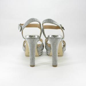 Sandalo cerimonia donna e sposa color argento/piombo con tacco alto.