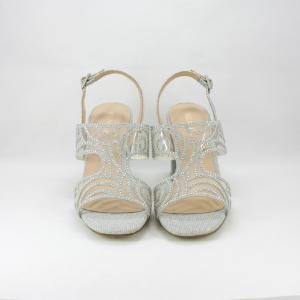 Sandalo cerimonia donna e sposa argento con applicazione cristalli e tacco largo.