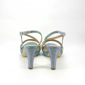 Sandalo cerimonia donna realizzato in tessuto glitter.