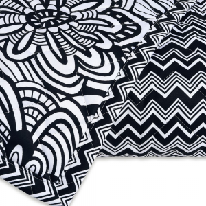 Missoni Home Quilted double bedspread 2 squares  OZ white black