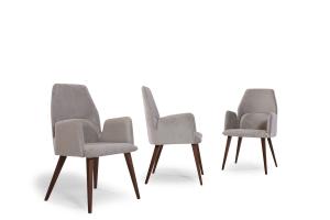 EUGENE - Sedia con schienale alto forma esagonale, gambe in legno