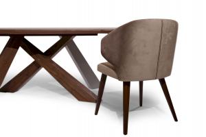 ZACARIE - Sedia con braccioli design , schienale alto, piedi in legno