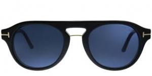 Tom Ford - Occhiale da Vista Uomo con Clip On da Sole, Matte Black/ Dark Blue Shaded FT5533-B  01V  C49