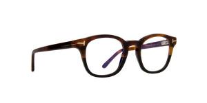 Tom Ford - Occhiale da Vista Uomo con Clip On da Sole, Matte Havana/ Dark Blue Shaded FT5532-B  56V  C49