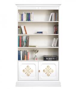 Librería alta decorada, de madera