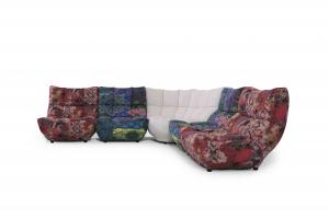 FANTASIA V - Divano ad angolo composto da 4 Poltrone modulari colorate e corner