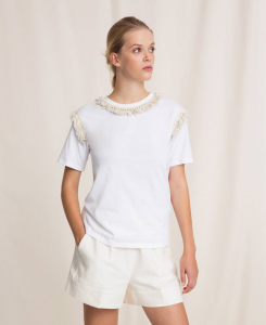 SHOPPING ON LINE TWINSET MILANO T.SHIRT CON FRANGE E PASSAMANERIA NEW COLLECTION  WOMEN'S SPRING SUMMER 2020