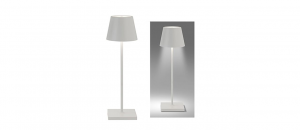 Lampada da tavolo bianca Led ricaricabile cm.38h diam.10
