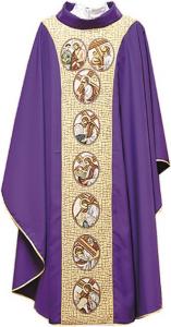 Casula in poliestere con fascia in gobelin ricamo Via Crucis