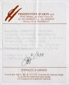 Ernesto Treccani Acquaforte originale Formato cm 50x30.5