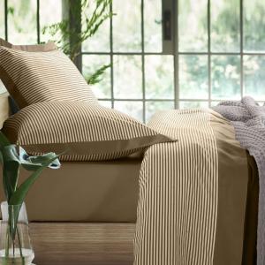 Set Completo Lenzuola con Fodera per Cuscino 50x80, Volant con Design a Righe, Morbido Cotone 100% Naturale, Tessuto Anallergico | VEGA