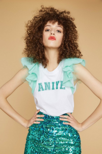 SHOPPING ON LINE ANIEY BY T-SHIRT WINGS COLORI ACQUA-CEDRO-CORALLO-  NEW COLLECTION WOMEN'S SPRING SUMMER 2020