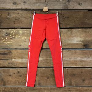 Leggins Adidas in Cotone Rosso con Bande Bianche