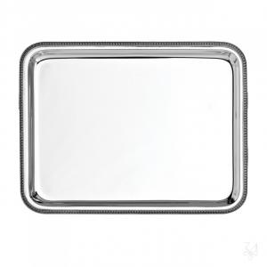 Vassoio rettangolare rendiresto in lega argentata stile Impero cm.23,5x13,5